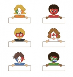 flag kids holding tags vector image