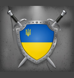 Flag of ukraine with trident the shield with vector