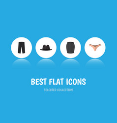 Flat icon clothes set of lingerie panama stylish vector