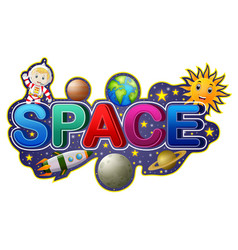 font design for word space with astronaut vector image