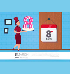 Girl holding cake for 8 march holiday happy women vector