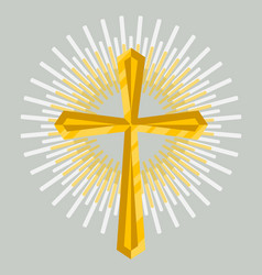 Golden church cross icon isolated vector