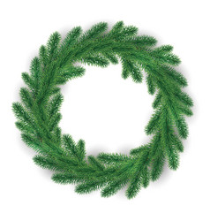 green christmas wreath on white background vector image