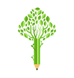 green pencil tree concept isolated for education vector image