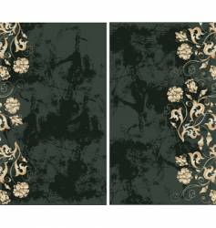 grunge background with gold flowers vector image