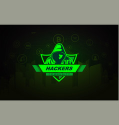 Hacker with hoodie on technology background vector