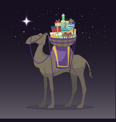 Happy epiphany day camel transporting gifts on vector