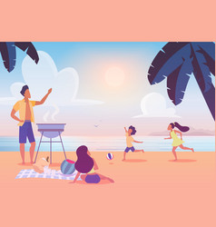 happy family enjoying barbecue party on beach vector image
