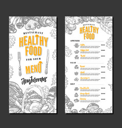 Healthy restaurant menu template vector