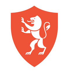 Heraldic lion on shield coat arms in modern vector