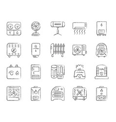 hvac charcoal draw line icons set vector image
