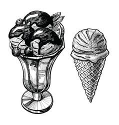 ice cream hand drawn set vector image