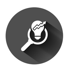 Insight icon in flat style bulb on black round vector