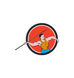 Javelin Throw Track and Field Circle Cartoon vector image