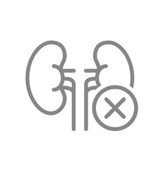 Kidneys with cross checkmark line icon diseased vector