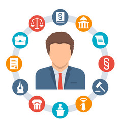 Lawyer law concept icons vector