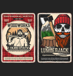 Lumberjack service woodwork vintage poster vector