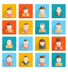 Man Faces Icons Flat vector image