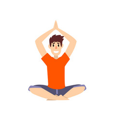 Man sitting in lotus pose with arms raised above vector
