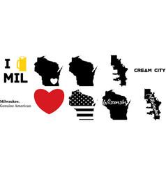 Milwaukeee wisconsin us map vector
