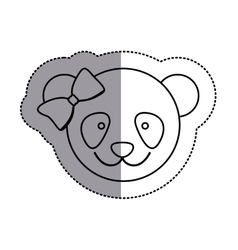 Monochrome contour sticker with female panda head vector