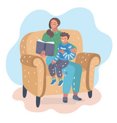 Mother reading book with her son on the chair vector