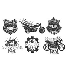 motorbike club retro labels set super motor best vector image