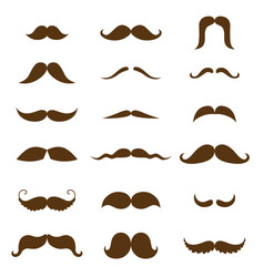 mustache collection black silhouette of the vector image