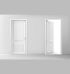 open and closed white wooden doors vector image