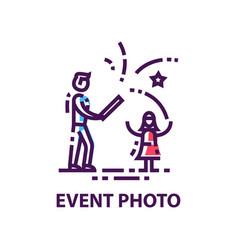 original flat logo with man and girl vector image