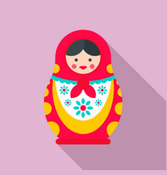 Ornate nesting doll icon flat style vector