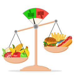 Outweighed on the scales of fruits and vegetables vector