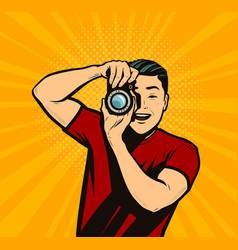 photographer with camera reporter retro comic pop vector image