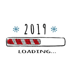 Progress bar with inscription - 2019 loading vector