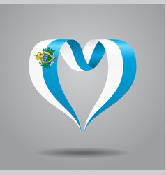 San marino flag heart-shaped ribbon vector