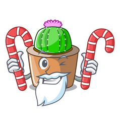 Santa with candy mascot star cactus decorate in vector