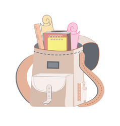 school backpack with a scroll and school supplies vector image