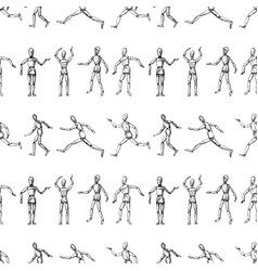 Seamless pattern sketches human mannequins vector