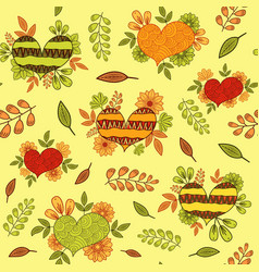 seamless pattern with ethnic doodle hearts vector image