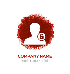 Secure user icon - red watercolor circle splash vector