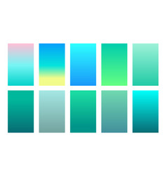 set gradient backgrounds sea color palette vector image