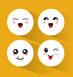 Set kawaii emoticons expression vector