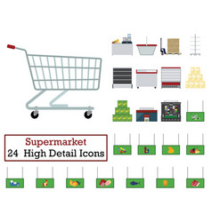 set of 24 supermarket icons vector image