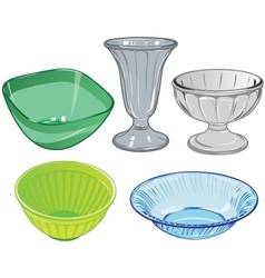 Set of glassware and glass vase and plastic salad vector image vector image