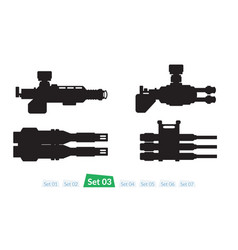 set of spaceship weapons silhouette three vector image