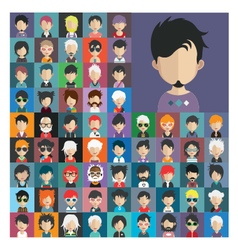 Set people icons in flat style with faces 20 a vector