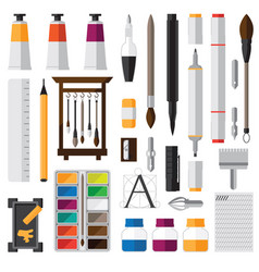 Set with equipment for calligraphy and vector