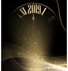 shiny 2019 new year blurred background with clock vector image