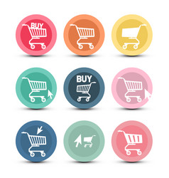 shopping cart icons with pointer arrow symbols vector image