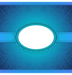 squared label on blue floral background vector image